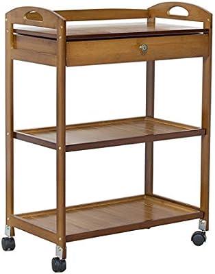 Carrito de te Carro de Servicio Carro de Almacenamiento de Cocina Carrito de Servicio de Bar con 3 Camas y un cajón, Organizador de bambú Impermeable, ...