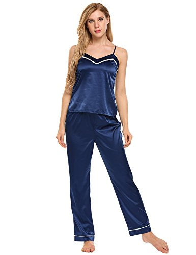 (Ekouaer Cotton Nightgowns for Women Sleepwear Long Night Dress Women's Satin Pajamas Set)