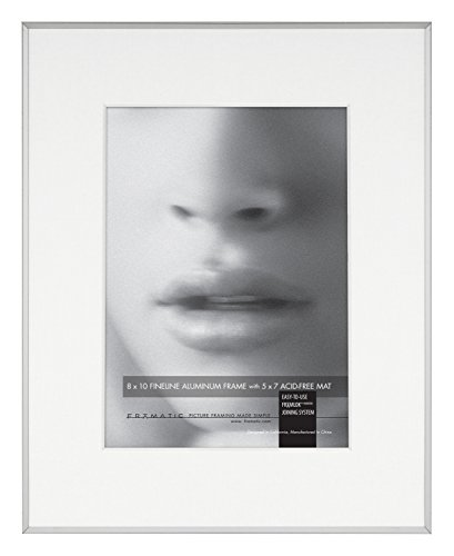 Framatic Fineline 8x10 Inch Aluminum Frame Matted to 5x7 Inc