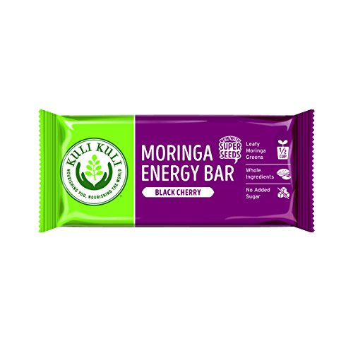 Kuli Kuli Moringa SuperFood Energy Bar, Black Cherry, 1.6 Ounce Bars (Box of 12) Vegan, Gluten-Free Energy Bar, Contains Half Cup of Leafy Greens, Chia & Pumpkin Seeds No Added Sugar, Convenient Snack