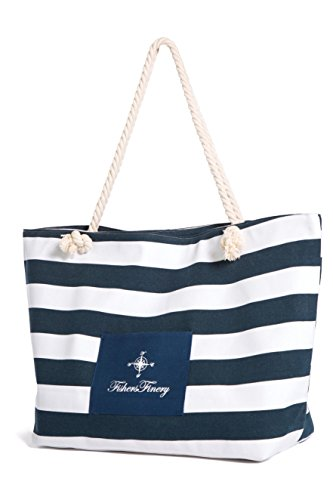 Fishers Finery Heavy Canvas Striped Beach Bag with Rope Handle (Navy, L)