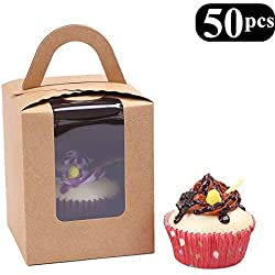 Clear Bakery Pastry Brown Kraft Paper Single Cupcake Boxes With Window And Handle Wholesale(50PCS)