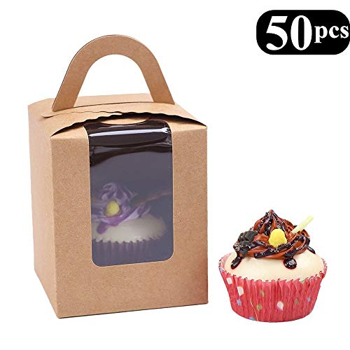 Clear Bakery Pastry Brown Kraft Paper Single Cupcake Boxes With Window And Handle Wholesale(50PCS) -