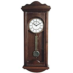 Best Pendulum Wall Clock, Silent Decorative Wood Clock With Swinging Pendulum, Battery Operated, Large Dark Wooden Design, For Living Room, Kitchen, Office & Home Décor, 31 x 12.5 inches