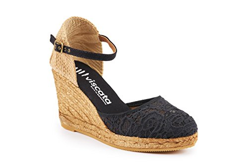 Black Spain Heel in Classic Toe Made Espadrilles Satuna Crochet Ankle VISCATA inch with 3 Closed Strap qfwZFvvxOR