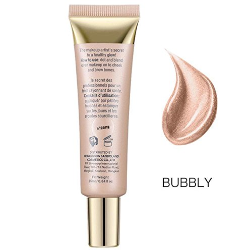 FTXJ 25ml Shimmer Liquid Highlighter Makeup Face Cheeks Nose Highlight Cream (Bubbly(Suit for Dark Color Skin))