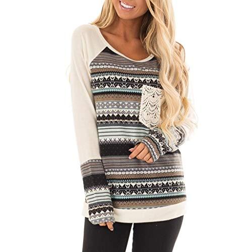 XOWRTE Women's O-Neck Tops Long Sleeve Stripe Splicing Lace Pocket Shirt Fall Winter Easy Blouse T-Shirt