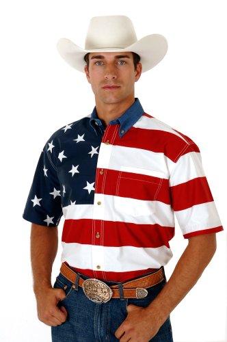 Roper Men's Stars & Stripes Pieced Flag Shirt S/S Red Button-up Shirt 2XL (Flag Shirt Star)
