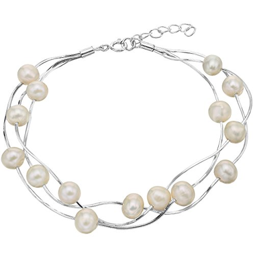 EVER FAITH Women's 925 Sterling Silver 6MM Freshwater Cultured Pearl Tin Cup Station Bracelet - Three - Station Bracelet Three