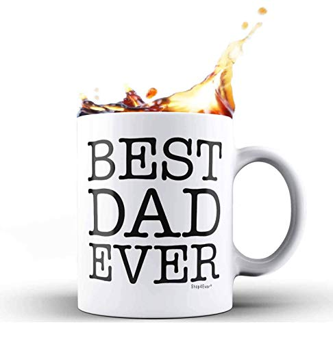 Shop4Ever Best Dad Ever Novelty Ceramic Coffee Mug Tea Cup Gift ~ Father's Day Gift ~ For Dad ~ (11 oz, White)]()