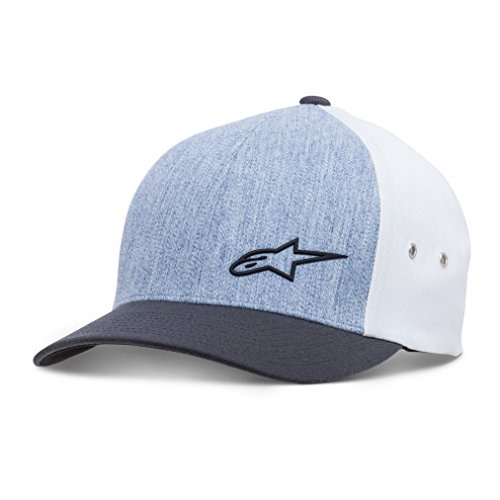 Alpinestars Men's Curved Bill Structured Crown Flex Back Lyered Sonic Weld Logo Flexfit Hat, Molded Blue Heather, L/XL