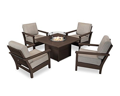 Ash Mahogany Table - POLYWOOD Harbour 5-Piece Conversation Set with Fire Pit Table (Mahogany/Cast Ash)