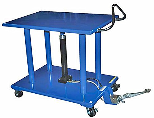 Stainless Steel Work Table - BHT Series; Platform Size (W x L): 30'' x 42''; Capacity (LBS): 3,000; Service Range: 54'' to 36''; Number of Posts: 4; Caster Type: 4'' X 2'' Phenolic