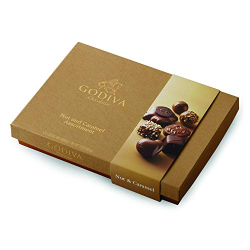 Godiva Chocolatier Chocolate Nut and Caramel Gift Box, Great for Gifting, Chocolate Caramels, Chocolate Covered Nuts, Nut Lovers, 19 pc