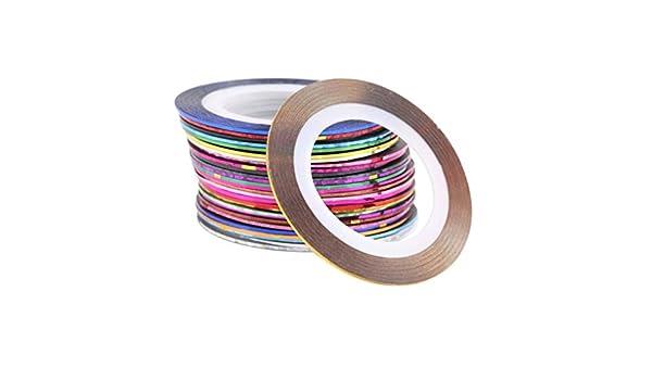 TAOHOU 30 Colores Mezclados Rollos Cinta de Rayas línea uñas Arte ...