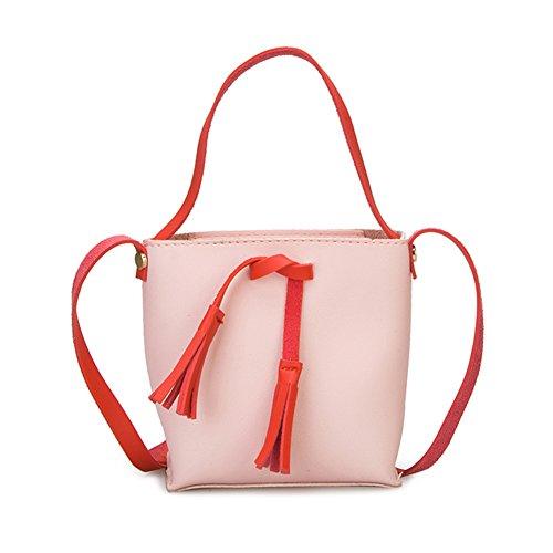 Majome Bolso de hombro del bolso de cuero de la PU de las mujeres Bolso de Crossbody del color del caramelo Bolsón del borla del totalizador Rosa