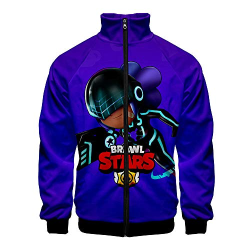 Brawl Stars 3d Double-Sided Printing Lightweight Jacket, Fall Winter Casual Fashion Long Sleeve Lapel Zip Up Polyester Fiber Coat Top Clothes with Pockets , Outdoor Sports Running Windbreaker Jackets