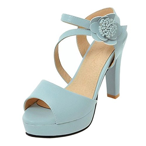 TAOFFEN Women's Summer High Heel Ankle Strap Sandals Shoes Blue ZXr0m3vjZ