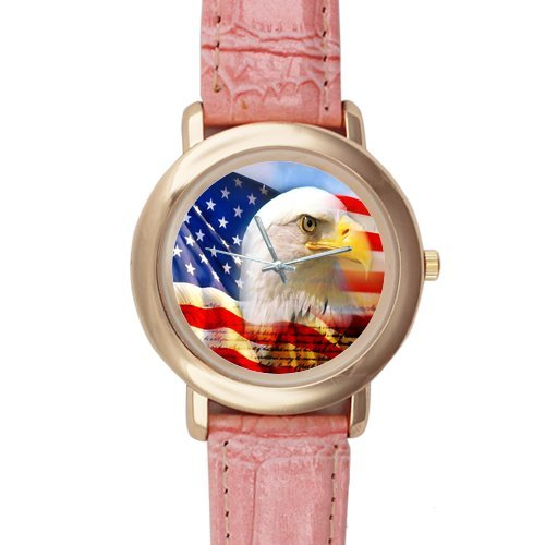 Gifts for girls or ladies American Bald Eagle Flag Pink Leather Alloy High-grade Watch