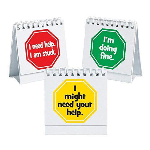 Fun Express I Need Help Student Mini Flip Classroom Desk Signs - 12 Pieces ()