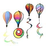 Fityle 4Pcs 55 '' Hot Air Balloons Windmill windsocks Spiral Windmill Garden Yard Lawn Patio Festival Decor