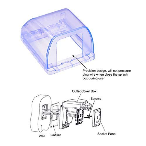 Weatherproof outlet cover Plug Receptacle protector in use Indoor use 98x125x75mm Blue 2 pieces