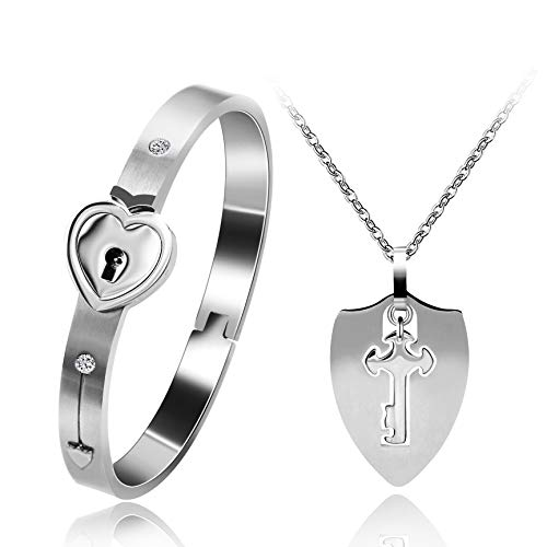 Uloveido Silver Color Stainless Steel Heart Lock Bracelet and Shield Key Necklace for Girls Boys Matching Jewelry Set for Couples Men and Women Y473