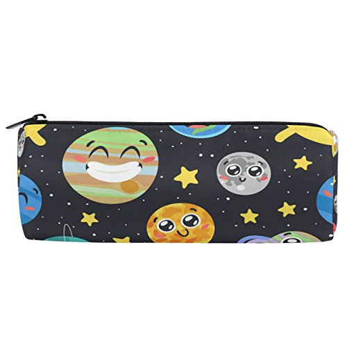 Solar System Notepad - ALAZA Hand Drawn Solar System Sun Moon Pencil Pen Case Pouch Bag with Zipper for Girls Kids School Student Stationery Office Supplies