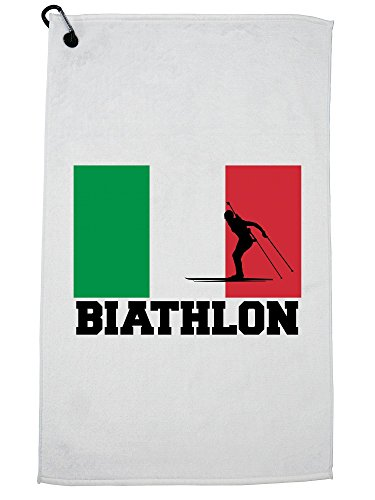 Hollywood Thread Italy Olympic - Biathlon - Flag - Silhouette Golf Towel with Carabiner Clip by Hollywood Thread