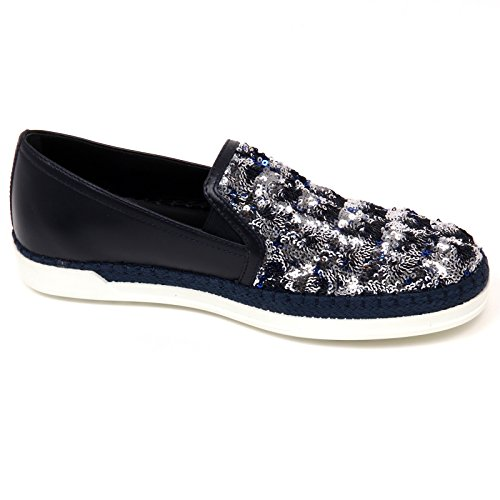 On Scuro Scarpa argento Rafia Blu Slip Blu D0470 Tod's Woman Sneaker Donna Shoe Paillettes AxqOnBZ