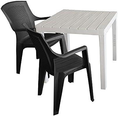 Juego de muebles de jardín mesa de jardín, plástico, color blanco ...