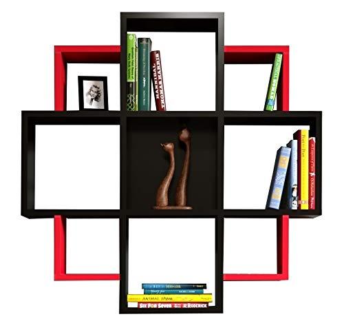 Homidea Bloom Wandregal - Bücherregal - Hängeregal - Dekoregal für Wohnzimmer in modernem Design (Schwarz/Rot)