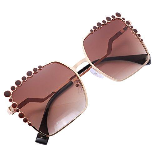 marron tamano Gafas Pink de Square UV400 Fashion Eyewear Vintage Gradient Ladies Mirror Sol gran Mujeres Gafas Big SODIAL sol de Mujer de 14Rq00wz