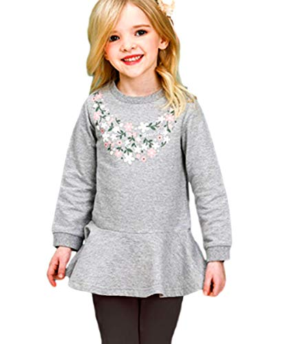 CuteMe Adorable Toddler Baby Girls Clothes Set Flower Long Sleeve Top and Pants 2 Pieces Outfits(117,Gray,100)