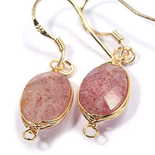 Strawberry Quartz Pendant - Natural Stone Wire Wrap Dangle Drop Earrings Gold Plated 925 Sterling Silver Hook/Strawberry Quartz