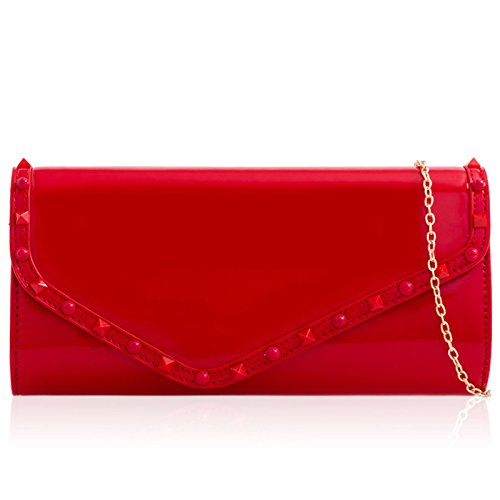 Bag Red Envelope Clutch Patent Xardi Parties cm Shaped Prom Strap Women's 140 Matching Studs Chain Baguette Ladies Evening Leather London H0w8xRH4