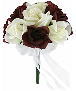 Amazon boutonniere burgundy rosebud with mini white flower burgundy and ivory silk rose toss bouquet silk wedding toss bouquet mightylinksfo Choice Image
