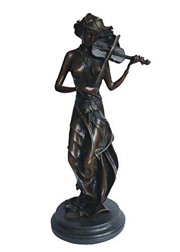 (Toperkin Violin Player Large Bronze Statues Metal Garden Statue Sculpture Home Decor TPY-959)