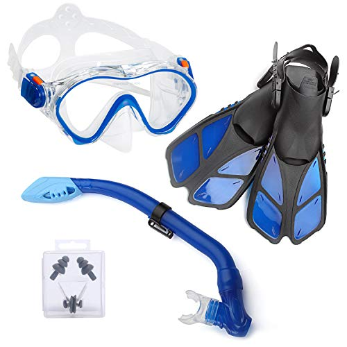 (ELEMENTEX Snorkel Set Gear for Kids Includes Scuba Mask, Diving Trek Fins and Easy-Breath Dry Top Valve | Improved Tempered Glass on Snorkeling Mask w/Free Ear Plugs, Nose Clip, and Carrying Bag)