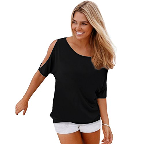 Swtddy Women's Short Sleeve Off Shoulder O Neck Feather Print Shirt Casual Top Blouse (L, No Printing Black)