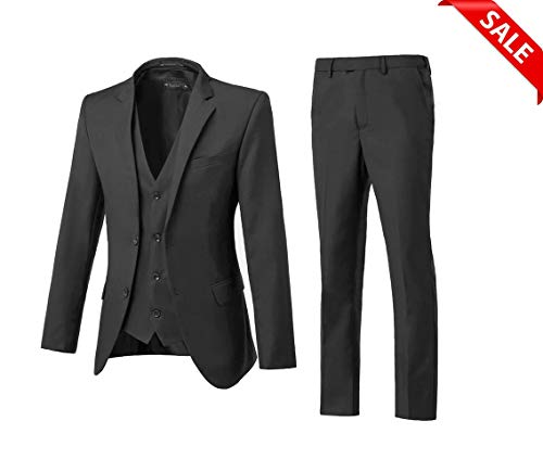 - High-End Suits Men's Big and Tall Single Breasted Modern Fit 2 Button Notch Lapel Black Suit Jacket for Men