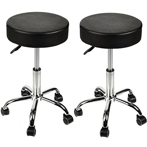 Hydraulic Massage Stools with Wheels Set of 2 Adjustable Rolling Spa Salon Stool Chair Black