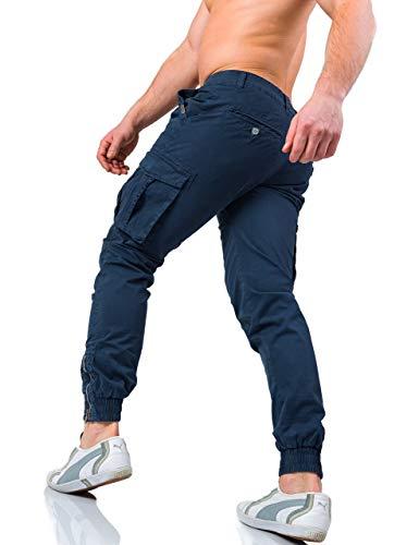Fit Laterali W7 3009 Tasche Tasconi Cargo Zip Uomo Instinct Con Pantaloni Blu Slim CXv4wwqz
