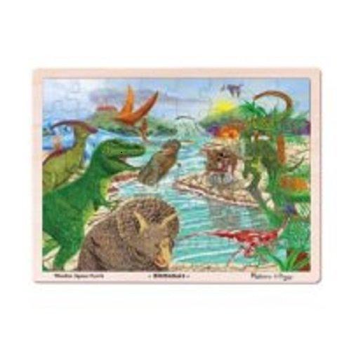 Melissa & Doug Dinosaur Wooden Jigsaw Puzzle with Storage Tray (48 pcs) - 4 Piece Storage
