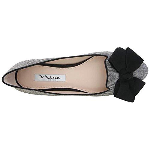 Nina Visdom Bow-tie Kvälls Flats Yy-stål Luna Sh / T