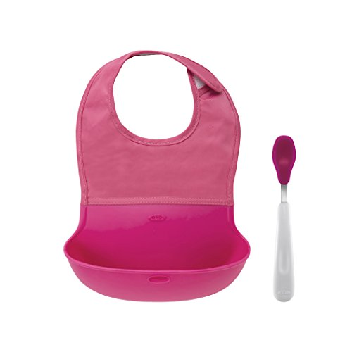 OXO Tot Roll Up Bib and Silicone Spoon Set - Pink