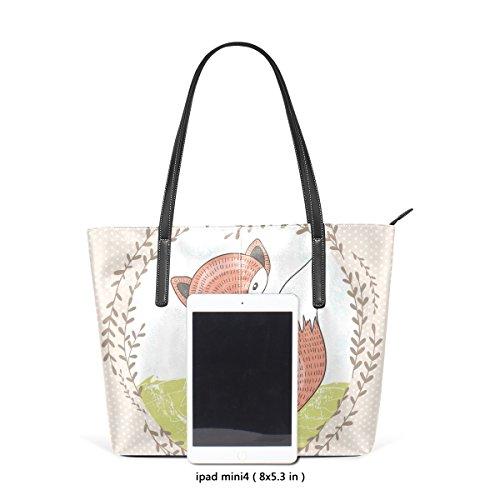 COOSUN Cute Little Fox PU Leder Schultertasche Handtasche und Handtaschen Tasche für Frauen