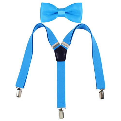 Kat Cheung Bahar 2PCS Bow Tie And Suspenders Set For Kids Boys 3 Clips Y (Turquoise) -