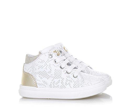 CIAO BIMBI - Weißer Sneaker mit Schnürsenkeln, aus Leder, in jedem Detail gepflegt, Stil, Qualität, Mädchen