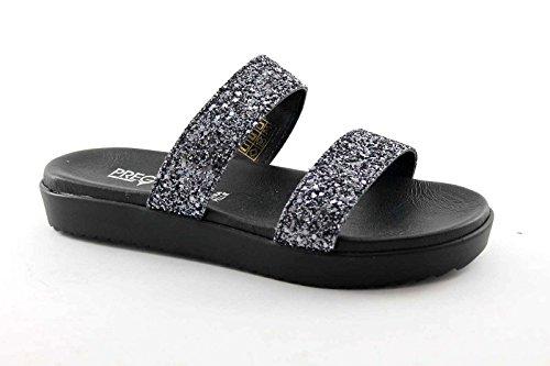 PREGUNTA IAF2725 zapatos negros tira de la mujer elástico del brillo del color de la piel Nero